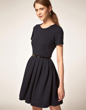 Платье для выпускного в горошек Boutique By Jaeger. Цвет: синий
