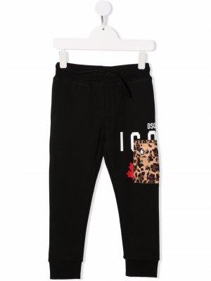 Slogan-print cotton track pants Dsquared2 Kids. Цвет: черный