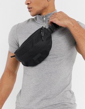 Черная сумка-кошелек на пояс с молнией -Черный цвет Consigned