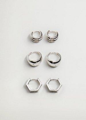 Комплект: каффы и сережка - Pongo Mango. Цвет: серебро
