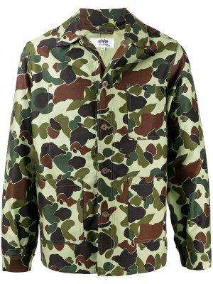 Куртка-рубашка с камуфляжным принтом Junya Watanabe MAN. Цвет: зеленый