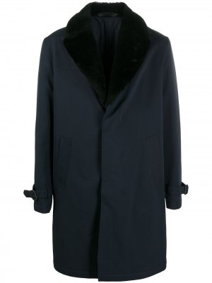 Fur-trimmed coat Brioni. Цвет: синий
