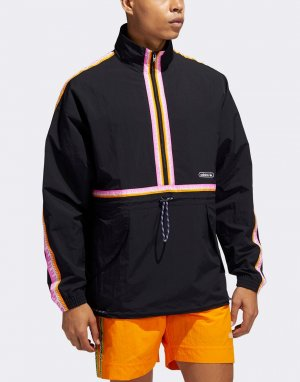 Черная куртка-анорак с отделкой лентами -Черный adidas Originals