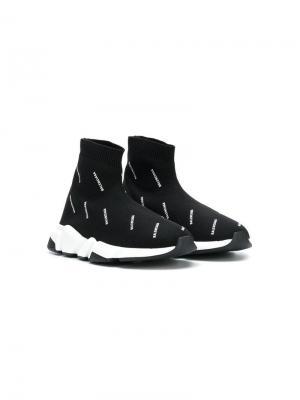 Кроссовки Speed с трикотажным верхом и логотипами Balenciaga Kids. Цвет: черный