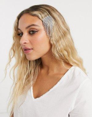 Заколка для волос с кристаллами -Серебряный Topshop