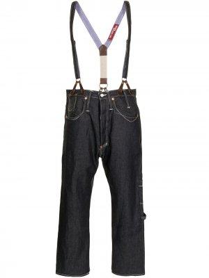 Укороченные джинсы с подтяжками Junya Watanabe MAN. Цвет: синий