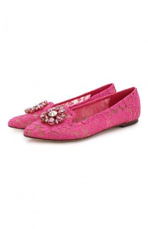 Текстильные слиперы Rainbow Lace Dolce & Gabbana. Цвет: розовый