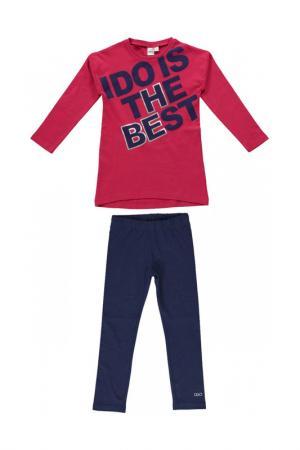 Комплект: брюки, лонгслив IDO. Цвет: красно-голубой