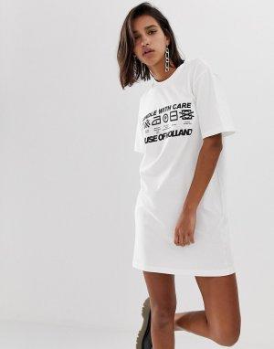 Платье-футболка с принтом House Of Holland-Белый Holland