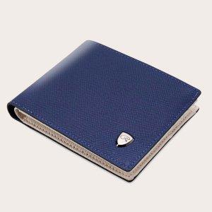 Маленький минималистичный мужской кошелек с складками SHEIN. Цвет: синий