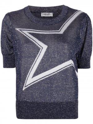Star-print knitted top LIU JO. Цвет: синий