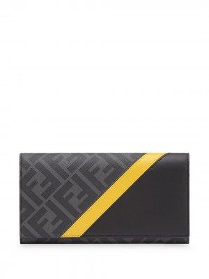 Кошелек с логотипом FF Fendi. Цвет: черный