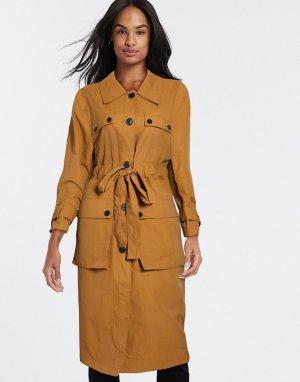 Тренч коричневато-желтого цвета с четырьмя карманами -Бежевый ASOS DESIGN