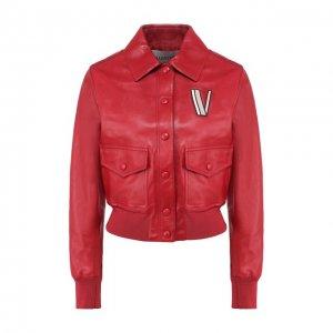 Кожаный бомбер Valentino. Цвет: красный