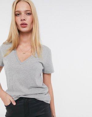 Серая футболка из хлопка супима с V-образным вырезом new-Серый J Crew