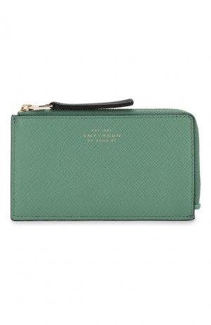 Кожаный футляр для кредитных карт Smythson. Цвет: зеленый