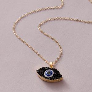 Ожерелье с подвеской SHEIN. Цвет: чёрный