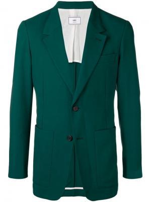 Удлиненный пиджак на двух пуговицах AMI Paris. Цвет: зеленый
