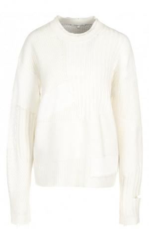Вязаный пуловер из смеси шерсти и кашемира Helmut Lang. Цвет: белый