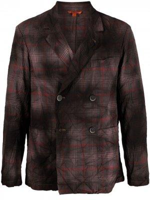 Двубортный пиджак в клетку Barena. Цвет: коричневый