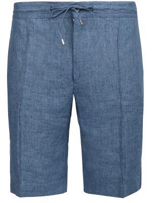 Льняные шорты BILANCIONI. Цвет: синий