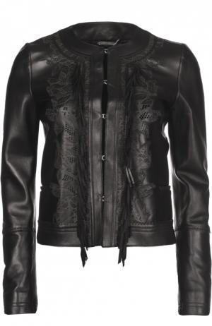 Куртка кожаная Roberto Cavalli. Цвет: черный