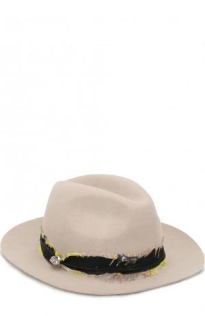 Шерстяная шляпа с отделкой пером Zadig&Voltaire. Цвет: бежевый