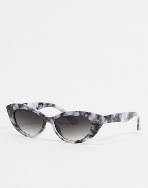 Серые солнцезащитные очки «кошачий глаз» в мраморной оправе -Серый AJ Morgan