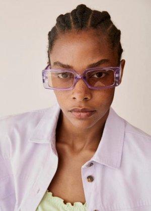Солнцезащитные очки в квадратной оправе - Layla Mango. Цвет: сиреневый