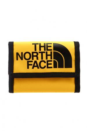 Желтый бумажник с логотипом The North Face. Цвет: желтый