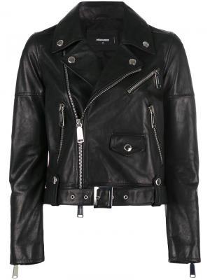 Байкерская куртка Dsquared2. Цвет: чёрный