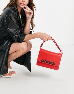 Красная сумка через плечо с логотипом и цепочкой -Красный House of Holland