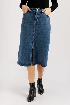 Юбка джинсовая женская Finn-Flare. Цвет: синий