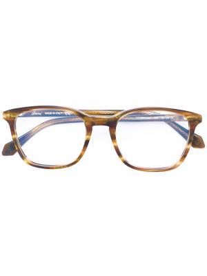 Очки с квадратной оправой Brioni. Цвет: коричневый