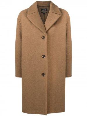 Однобортное пальто A.P.C.. Цвет: коричневый