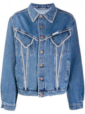 Джинсовая куртка со стразами Forte Dei Marmi Couture. Цвет: синий