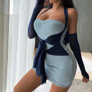 Двухцветное 2 в 1 платье с узлом и отверстием для большего пальца SHEIN. Цвет: пыльно-синий