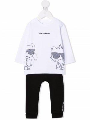 Logo-print cotton tracksuit set Karl Lagerfeld Kids. Цвет: черный