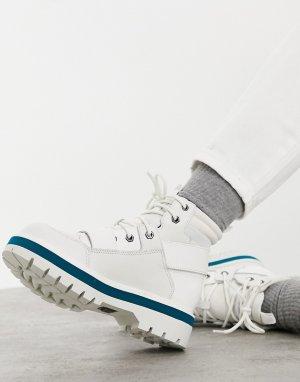 Белые походные ботинки на плоской подошве с ремешками в стиле милитари CAT Mode-Белый Footwear