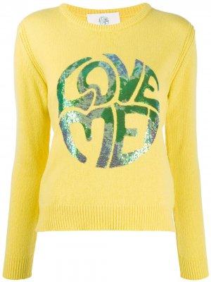 Пуловер с длинными рукавами и пайетками Alberta Ferretti. Цвет: желтый