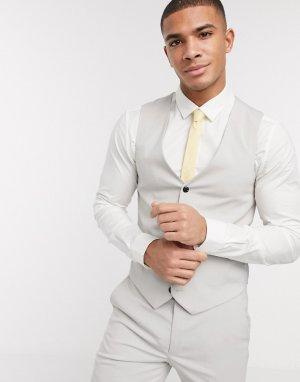 Однотонный облегающий жилет -Серый Harry Brown