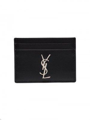Картхолдер с логотипом YSL Saint Laurent. Цвет: черный