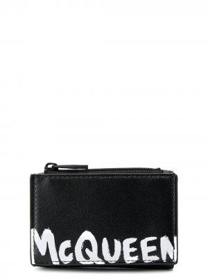 Бумажник с логотипом Alexander McQueen. Цвет: черный