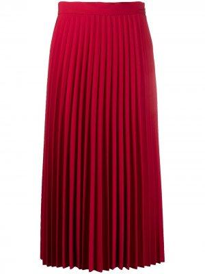 Плиссированная юбка миди Blumarine. Цвет: красный