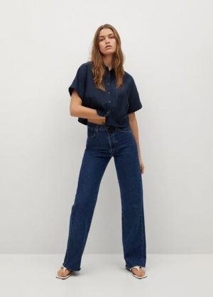 Укороченная рубашка со складками - Louisa-h Mango. Цвет: темно-синий