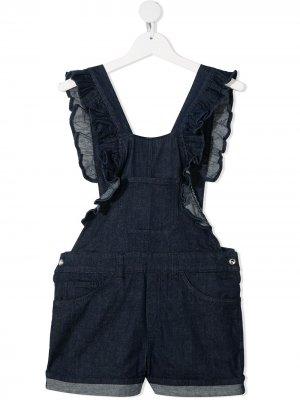 Короткий джинсовый комбинезон с оборками Dondup Kids. Цвет: синий