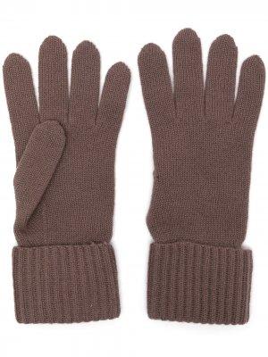 Перчатки в рубчик N.Peal. Цвет: фиолетовый
