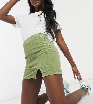 Мини-юбка из денима шалфейно-зеленого цвета с разрезом спереди ASOS DESIGN Tall-Зеленый цвет Tall