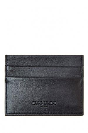Черная кожаная визитница Canali. Цвет: черный