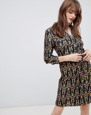 Платье-рубашка с геометрическим принтом и поясом -Черный Darling